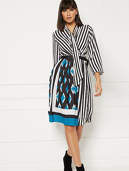 Petite Cassie Pleated Wrap Dress - Eva Mendes Collection - New York & Company