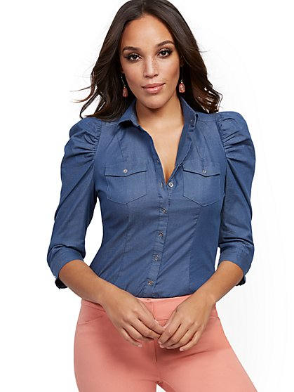 Petite Chambray Madison Stretch Shirt - Secret Snap - 7th Avenue - New York & Company