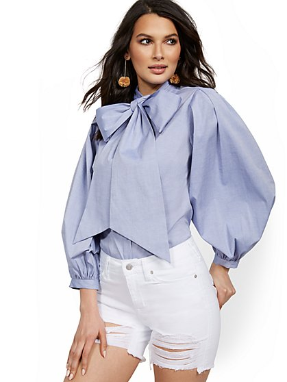Petite Chambray Poplin Bow Shirt - Lily & Cali - New York & Company