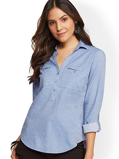 Petite Chambray Popover Madison Stretch Shirt - New York & Company