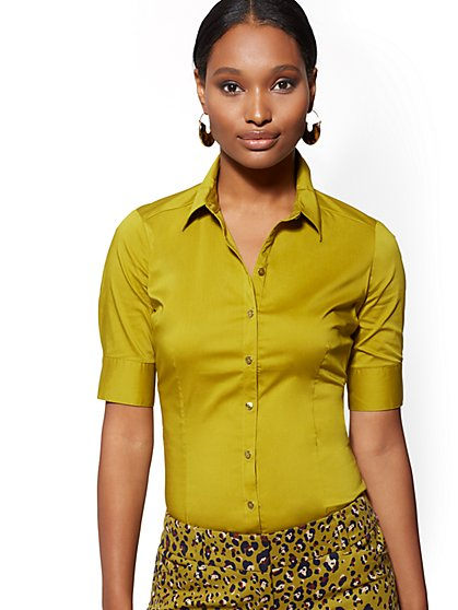 Petite Chartreuse Madison Stretch Shirt - 7th Avenue - New York & Company