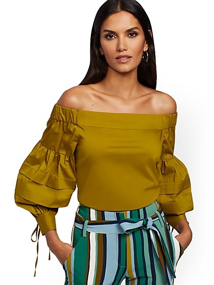 Petite Chartreuse Off-The-Shoulder Shirt - 7th Avenue - New York & Company