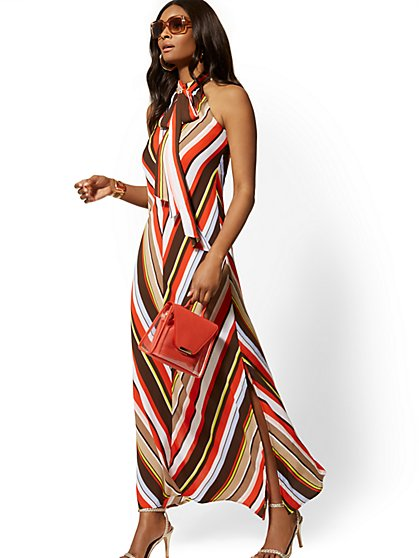 Petite Chevron-Stripe Halter Maxi Dress - New York & Company