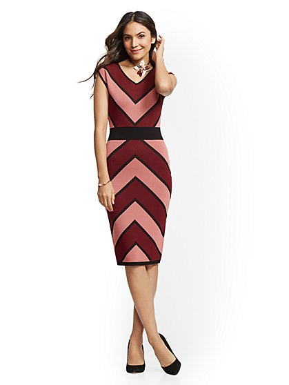 Petite Chevron Stripe Sheath Sweater Dress - New York & Company