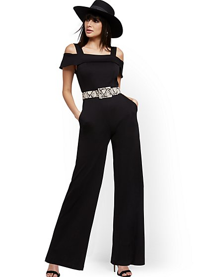 Petite Cold-Shoulder Jumpsuit - New York & Company