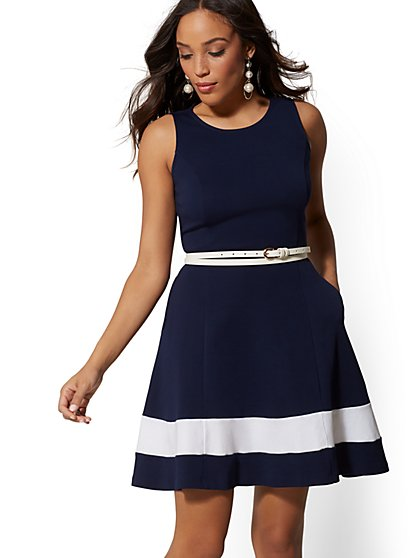 Petite Colorblock Fit and Flare Cotton Dress - New York & Company