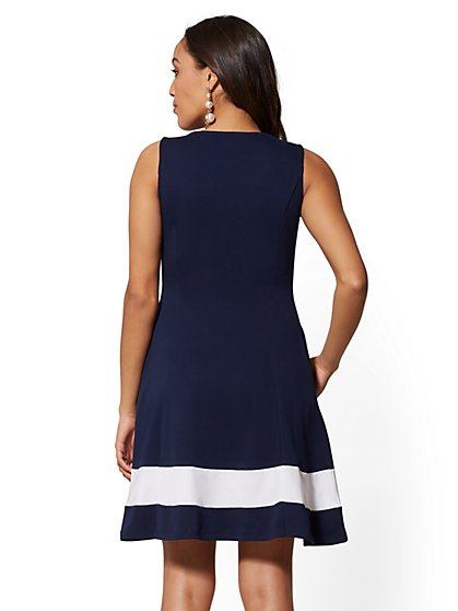 6af7d0867b ... Petite Colorblock Fit and Flare Cotton Dress - New York   Company ...