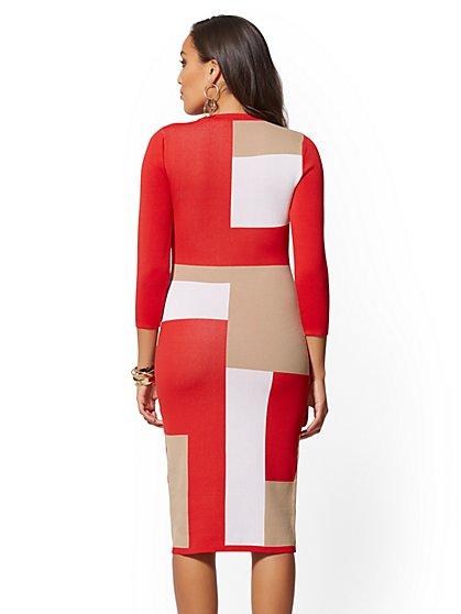 492212a0d6 ... Petite Colorblock Sweater Sheath Dress - New York   Company ...