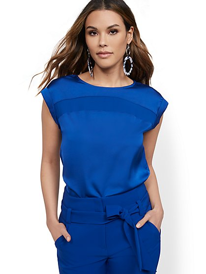 Petite Contrast-Inset Top - 7th Avenue - New York & Company