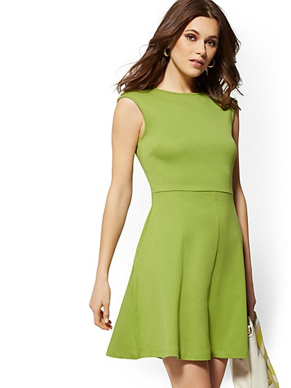 Petite Cotton Bateau-Neck Flare Dress - New York & Company