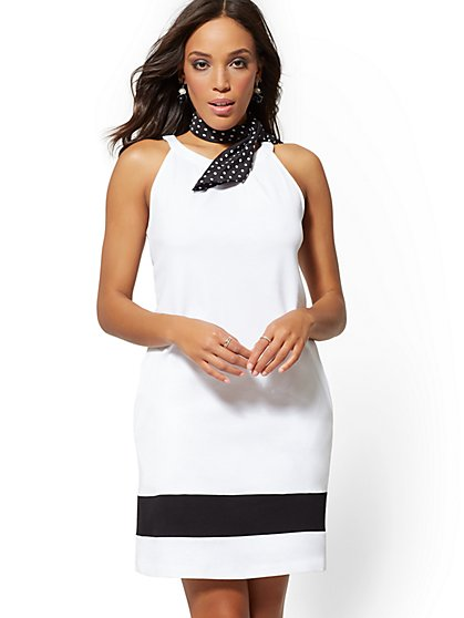 32ad0b3a6b5 Petite Cotton Colorblock Halter Shift Dress - New York   Company ...