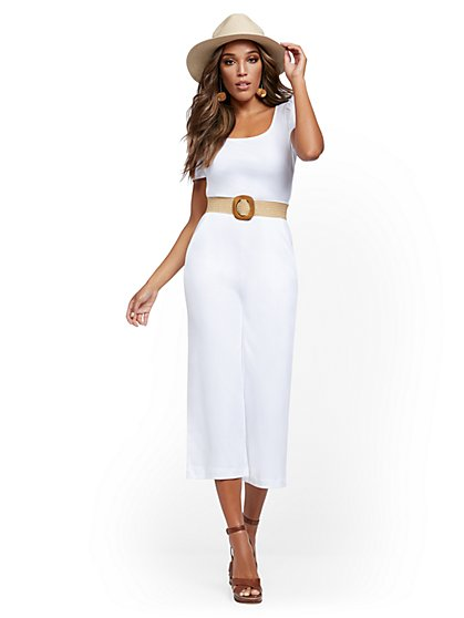 Petite Cotton Knit Culotte Jumpsuit - New York & Company