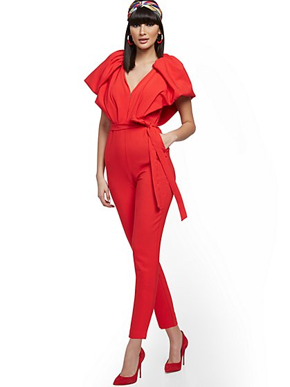 Petite Deep V-Neck Jumpsuit - New York & Company