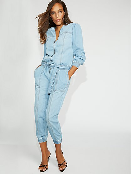 Petite Denim Jogger Jumpsuit - Gabrielle Union Collection - New York & Company