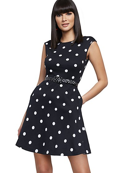 Petite Dot-Print Fit and Flare Dress - New York & Company