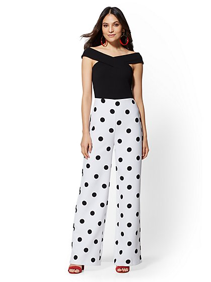 Petite Dot-Print Off-The-Shoulder Jumpsuit - New York & Company