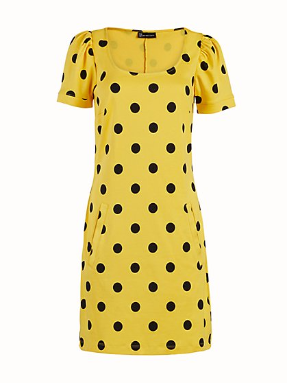 Petite Dot-Print Puff-Sleeve Cotton Fit and Flare Dress - New York & Company