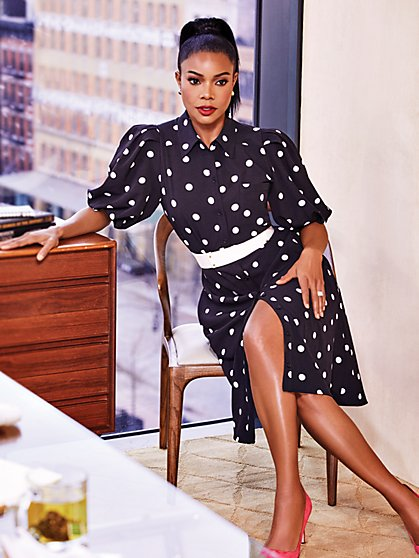Petite Dot-Print Puff-Sleeve Shirtdress - New York & Company