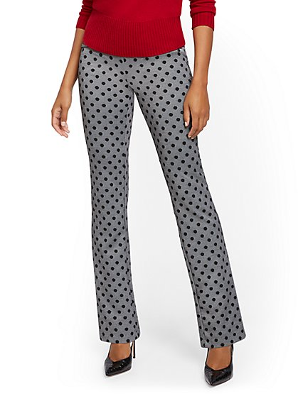 Petite Dot-Print Pull-On Bootcut Ponte Pant - Superflex - New York & Company