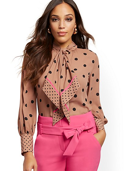 Petite Dot-Print Scarf Blouse - 7th Avenue - New York & Company
