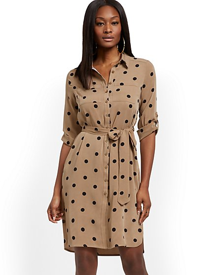 Petite Dot-Print Shirtdress - New York & Company