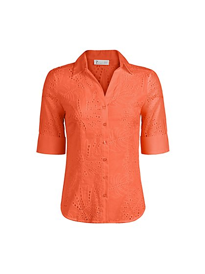 Petite Eyelet Madison Stretch Shirt - Secret Snap - 7th Avenue - New York & Company