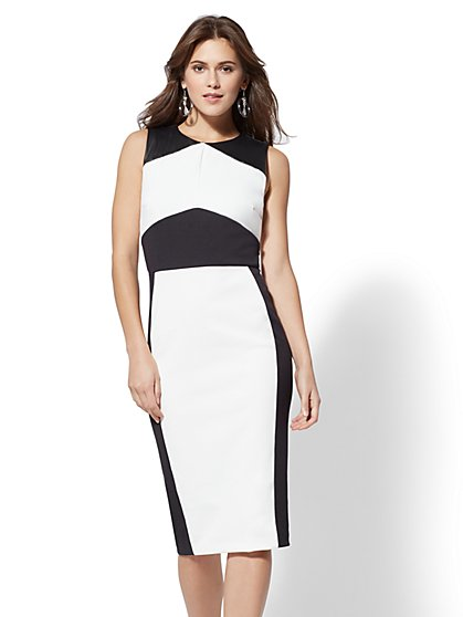 Petite Faux-Leather Colorblock Sheath Dress - New York & Company