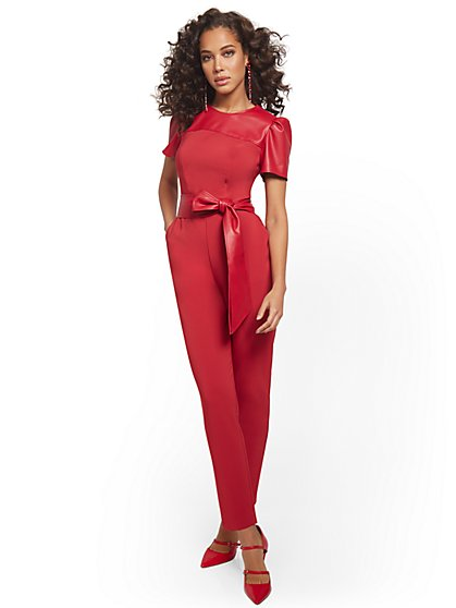 Petite Faux-Leather Puff-Sleeve Jumpsuit - New York & Company