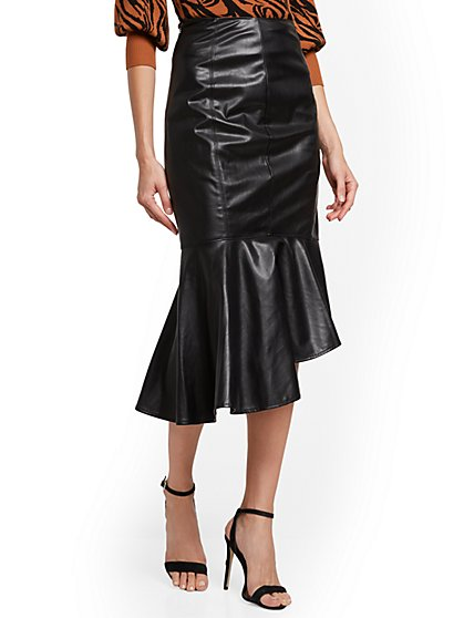 Petite Faux-Leather Skirt - New York & Company