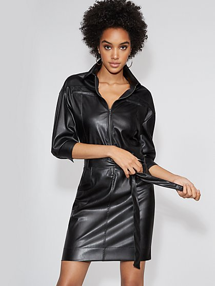 Petite Faux-Leather Zip-Front Shirtdress - Gabrielle Union Collection - New York & Company