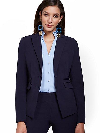 Petite Faux-Pocket Button-Front Blazer - Double Stretch - New York & Company