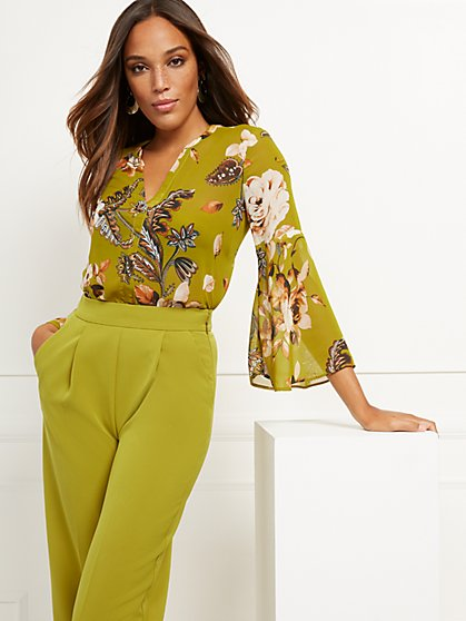 Petite Floral Bell-Sleeve Blouse - 7th Avenue - New York & Company