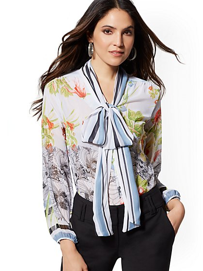 Petite Floral Bow Blouse - New York & Company