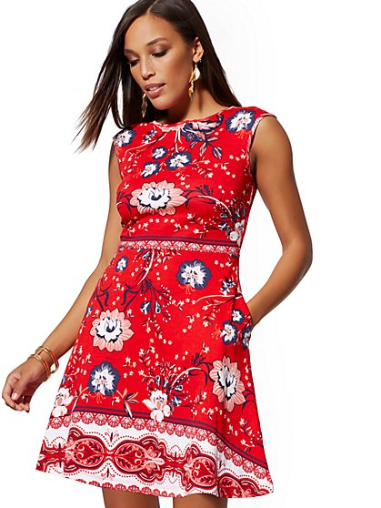 Petite Floral Cotton Flare Dress - New York & Company