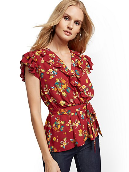 Petite Floral Flutter-Sleeve Blouse - New York & Company