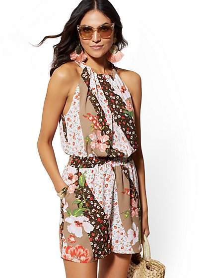 Petite Floral Halter Romper - New York & Company