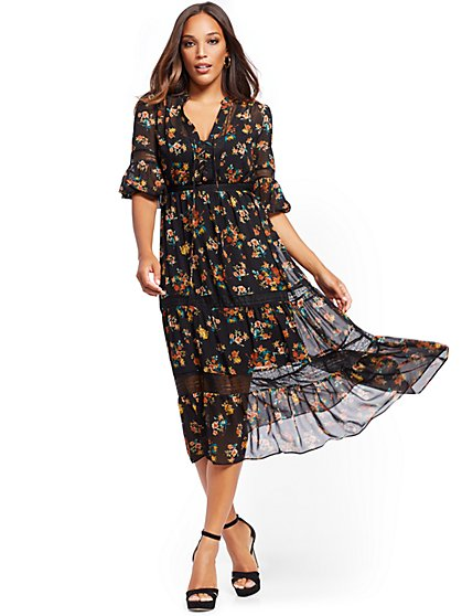 Petite Floral Midi Dress - New York & Company
