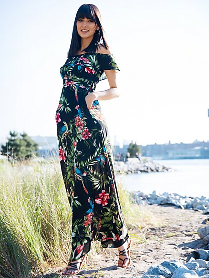 Petite Floral Print Off-Shoulder Maxi Dress - New York & Company
