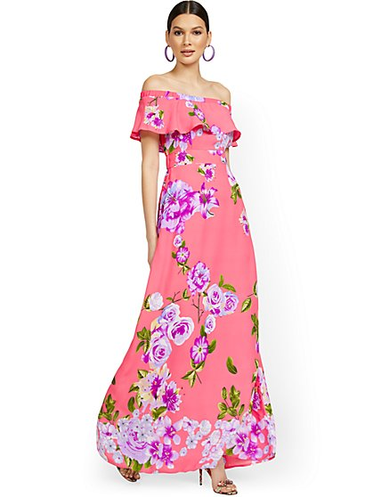 Petite Floral-Print Off-the-Shoulder Ruffle-Top Maxi Dress - New York & Company