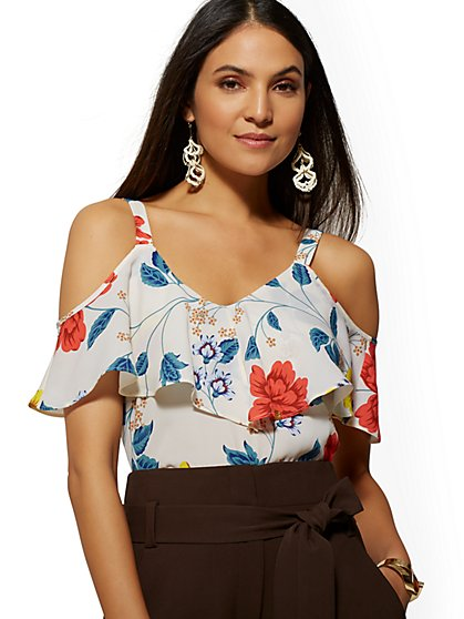Petite Floral Ruffle Cold-Shoulder Blouse - 7th Avenue - New York & Company