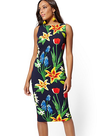 Petite Floral Scuba Dress - New York & Company