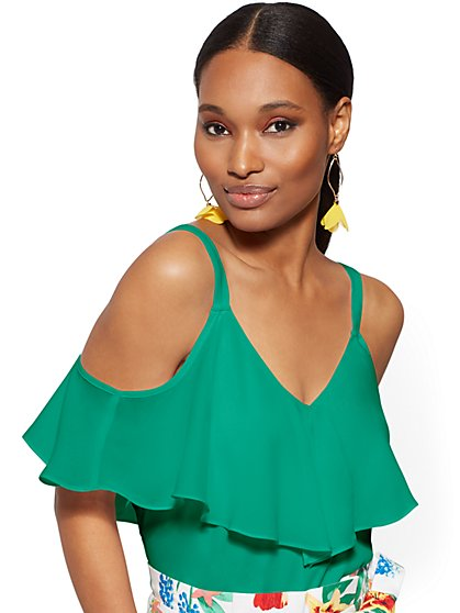 Petite Flounced Cold-Shoulder Top - New York & Company