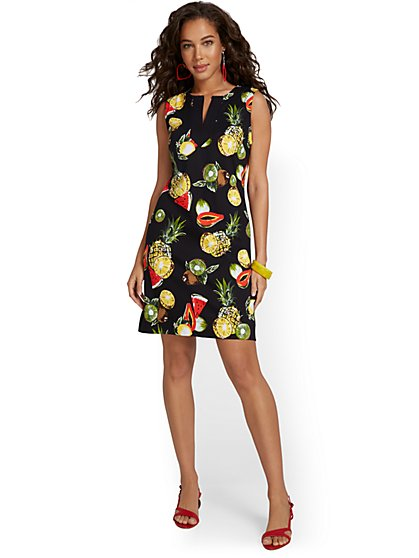 Petite Fruit-Print Cotton Shift Dress - New York & Company