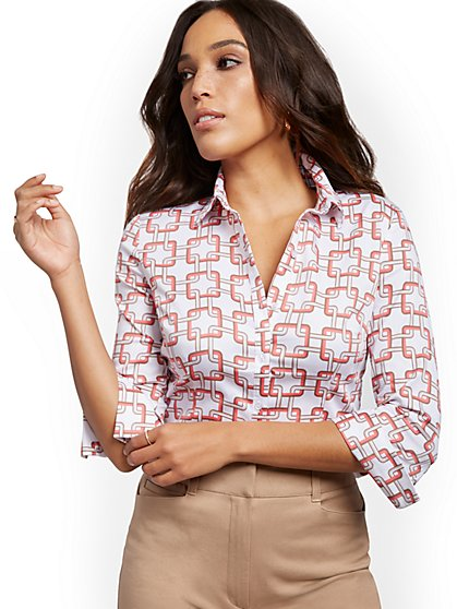 Petite Geo-Print Madison Stretch Shirt - Secret Snap - 7th Avenue - New York & Company