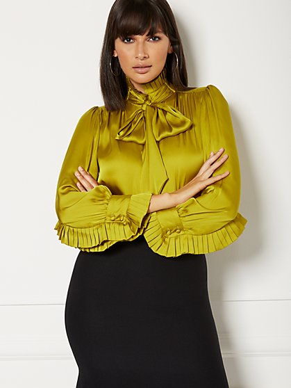Petite Ginger Ruffled Tie-Front Blouse - Eva Mendes Collection - New York & Company