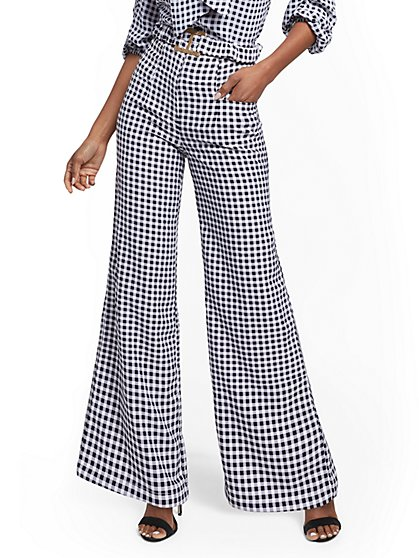 Petite Gingham Palazzo Pant - 7th Avenue - New York & Company