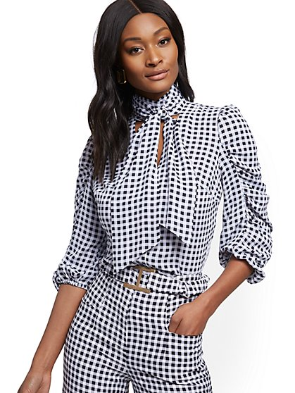 Petite Gingham Tie-Front Blouse - 7th Avenue - New York & Company