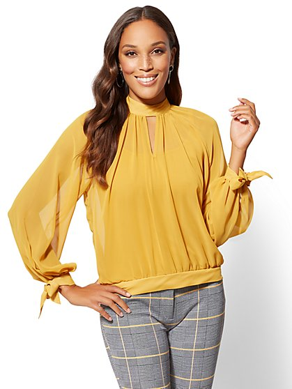 Petite Gold Mock-Neck Tie-Sleeve Blouse - New York & Company