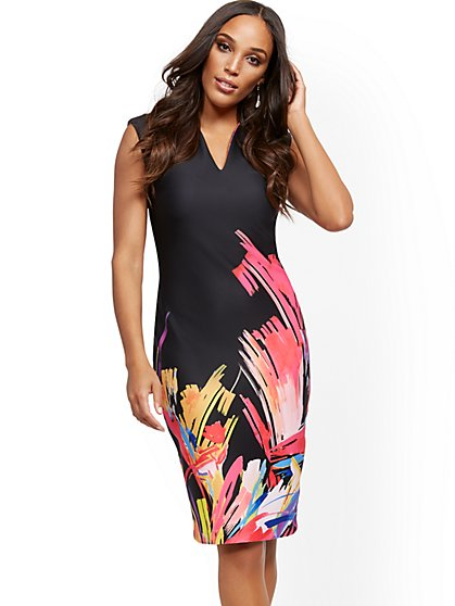 Petite Graphic-Print Cap-Sleeve Sheath Dress - New York & Company