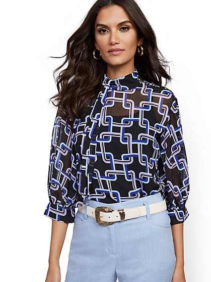 Petite Graphic-Print Tie-Front Blouse - 7th Avenue - New York & Company